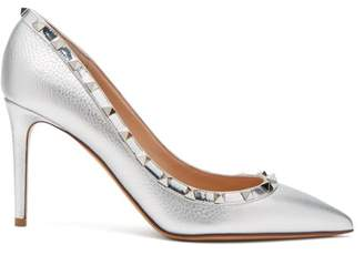 Valentino Rockstud Metallic Point Toe Leather Pumps - Womens - Silver
