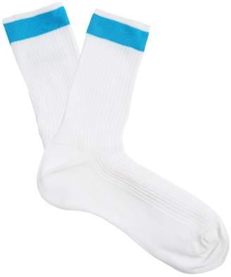 Valentino Striped-ankle ribbed silk-blend socks