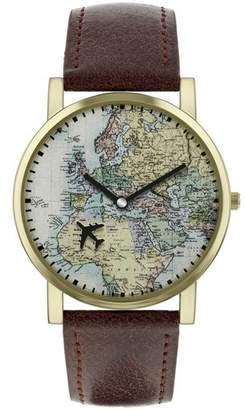 World map watch shopstyle uk at argos spirit mens aspg23 map dial brown strap watch gumiabroncs Gallery