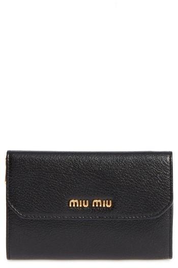 Miu MiuWomen's Miu Miu Madras Leather French Wallet - Black