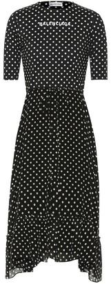 Balenciaga Crepe polka-dot midi dress