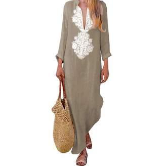 3a5c2b5052a ilovgirl Women s Floral Printed Cotton Linen Long Sleeve Solid Loose V  Neckline Boho Long Dress Kaftan