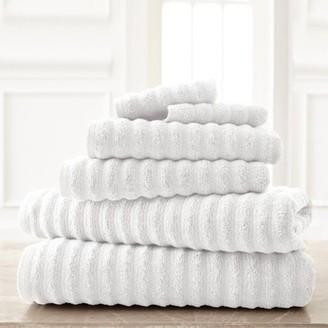 Amrapur Overseas Wavy Luxury Spa Collection 6 Piece Quick Dry Towel Set White