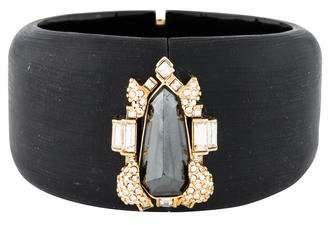 Alexis Bittar Hematite, Crystal & Lucite Hinged Bangle