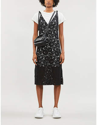 B+AB Lace-overlay cotton-jersey dress