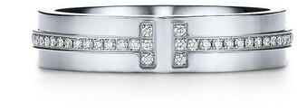 Tiffany & Co. & Co. T Two narrow ring in 18k white gold with diamonds - Size 5 1/2