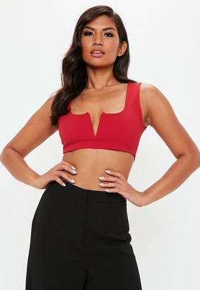 Missguided Red Notch Neck Bralette