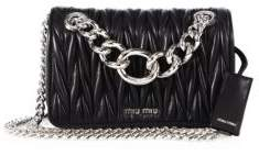 Miu MiuMiu Miu Club Medium Metallic Matelasse Leather Crossbody Bag