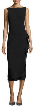 Chiara Boni Branka Boat-Neck Sleeveless Midi Cocktail Dress w/ Zipper Detail