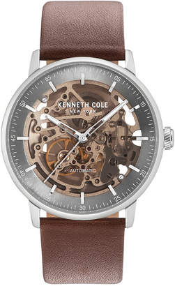 Kenneth Cole New York Men's Automatic Skeleton Brown Leather Strap Watch 42mm $175 thestylecure.com