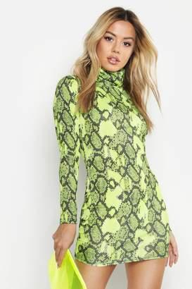 boohoo Petite Neon Snake Roll Neck Bodycon Dress