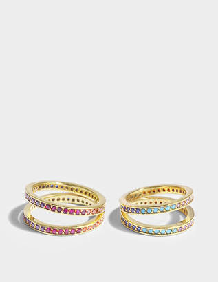 Joanna Laura Constantine Set Of Two Criss Cross Rings in Multi Gold-Plated Brass with Multicolored Stones