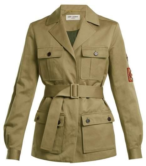 Cargo-pocket belted cotton-linen military jacket