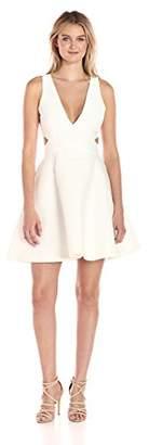 Halston Women's Sleeveless Deep V Neck Silk Faille Dress with Cut Outs