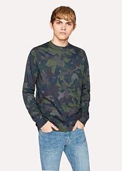 Paul Smith Men's Dark Navy Camouflage Print Cotton Long-Sleeve T-Shirt