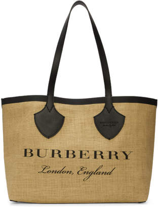 Burberry Tan and Black Giant Raffia Tote