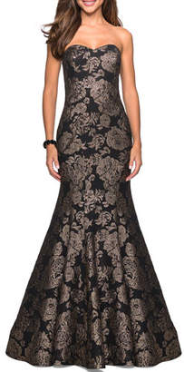 La Femme Strapless Sweetheart Rose-Print Mermaid Gown