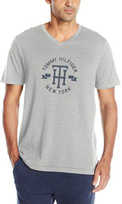 Tommy Hilfiger Men's Short Sleeve Graphic Logo V-Neck T-Shirt