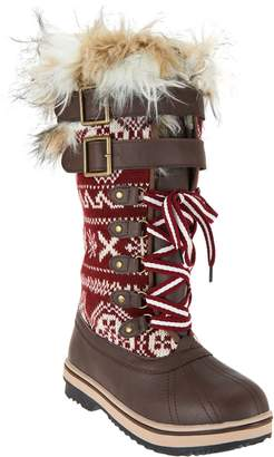 Muk Luks Allie Lace-Up Knit Snow Boots with Thinsulate