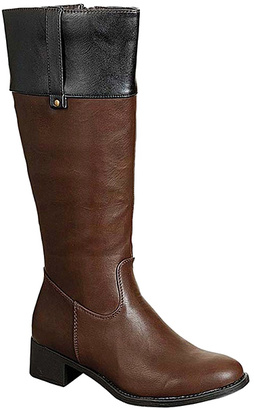 Brown & Black Contrast Alto Boot $55 thestylecure.com