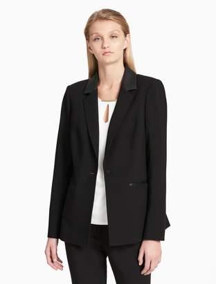 Calvin Klein faux leather luxe single button jacket