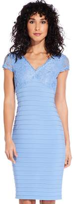 Adrianna Papell Rio Blue Lace Top Banded Sheath Dress