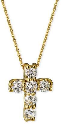 Roberto Coin 18k Diamond Square-Set Cross Pendant Necklace