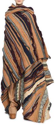 Stella McCartney Patchwork Wool-Blend Oversized Sweater Cape