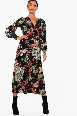 boohoo Ruby Floral Button Front Maxi Dress