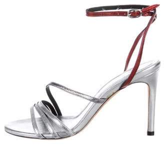 IRO Leather Ankle Strap Sandals Silver Leather Ankle Strap Sandals