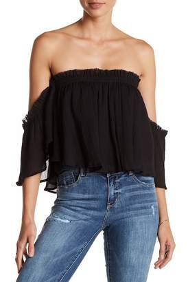 Know One Cares Off-the-Shoulder Crinkle Shirt