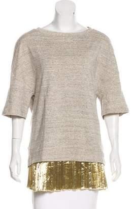 Dries Van Noten Metallic-Trimmed Knit Sweatshirt w/ Tags