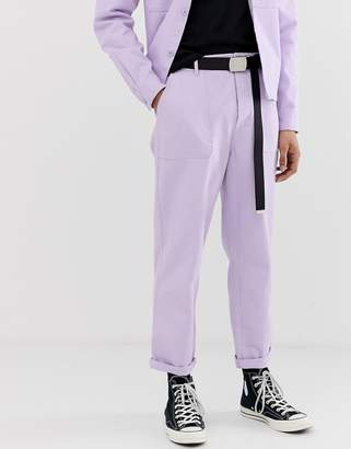 Asos Design DESIGN co-ord relaxed utility trousers in washed lilac