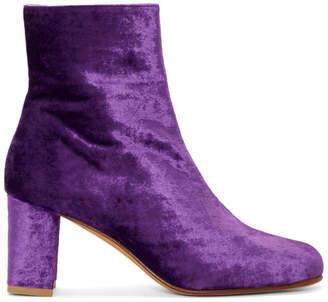 Maryam Nassir Zadeh Purple Velvet Agnes Boots