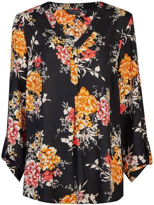 Dorothy Perkins Womens **Tall Black Floral Print Shirt