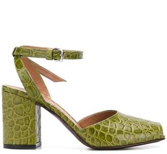 Marni crocodile embossed chunky heel sandals