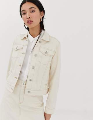 Selected ecru denim jacket with contrast stitching