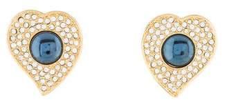 Saint Laurent Crystal Heart Clip-On Earrings
