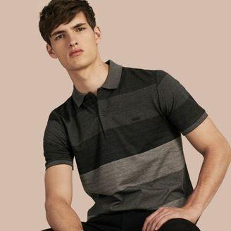 Burberry Striped Stretch Cotton Piqué Polo Shirt $495 thestylecure.com