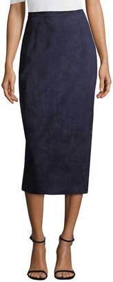 Oscar de la Renta Suede Midi Pencil Skirt