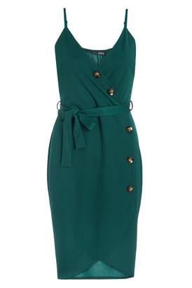 Quiz Bottle Green V Neck Button Dress