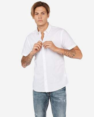 Express Slim Slub Chambray Short Sleeve Shirt