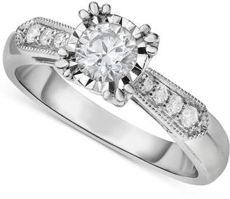 Macy's Diamond Vintage-Inspired Milgrain Engagement Ring (5/8 ct. t.w.) in 14k White Gold