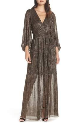 Eliza J Backless Metallic Maxi Wrap Dress