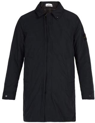 Stone Island Concealed Hood Technical Coat - Mens - Navy