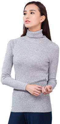 Jianai Women's High Quality Solid Color Turtleneck Cashmere Pullover Sweater