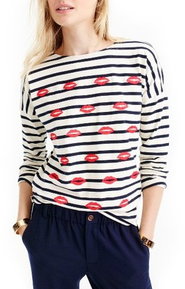 Women's J.crew Embroidered Lips Stripe Tee $45 thestylecure.com