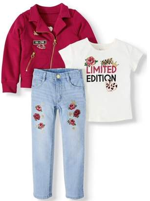 365 Kids From Garanimals Moto Jacket, Graphic T Shirt & Embellished Jean, 3-Piece Outfit Set (Little Girls & Big Girls)