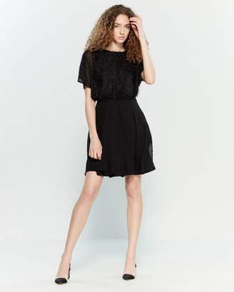 Yumi Black Eyelash Flared Dress