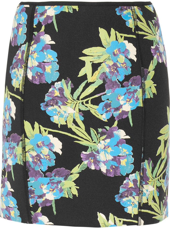 Elizabeth and James Scuba floral-print neoprene mini skirt